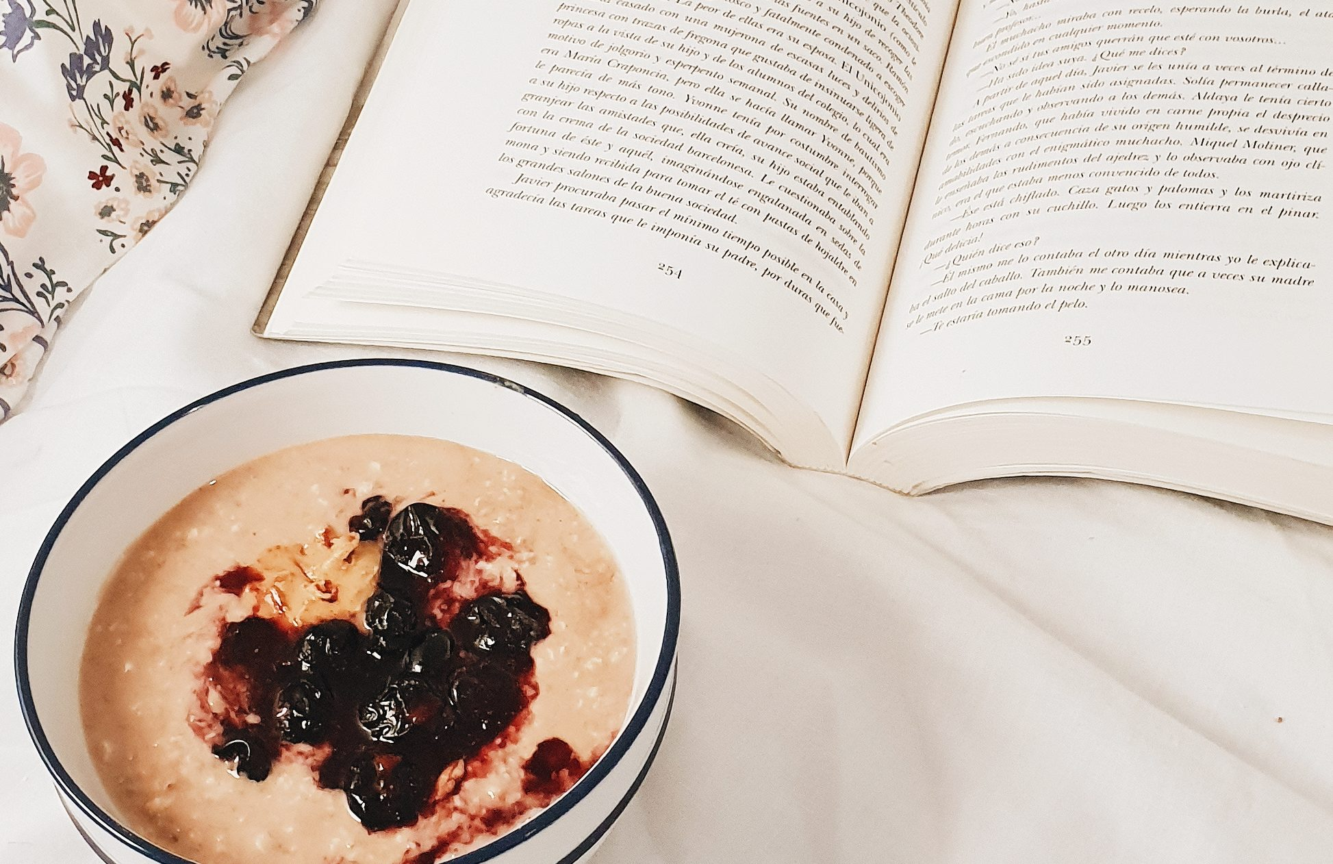 Chocolate Overnight Oats with bluberries