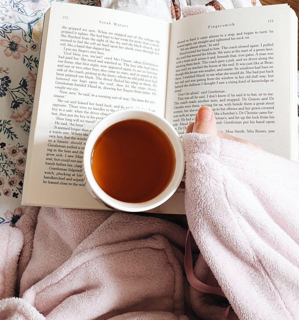 reading with tea flatlay